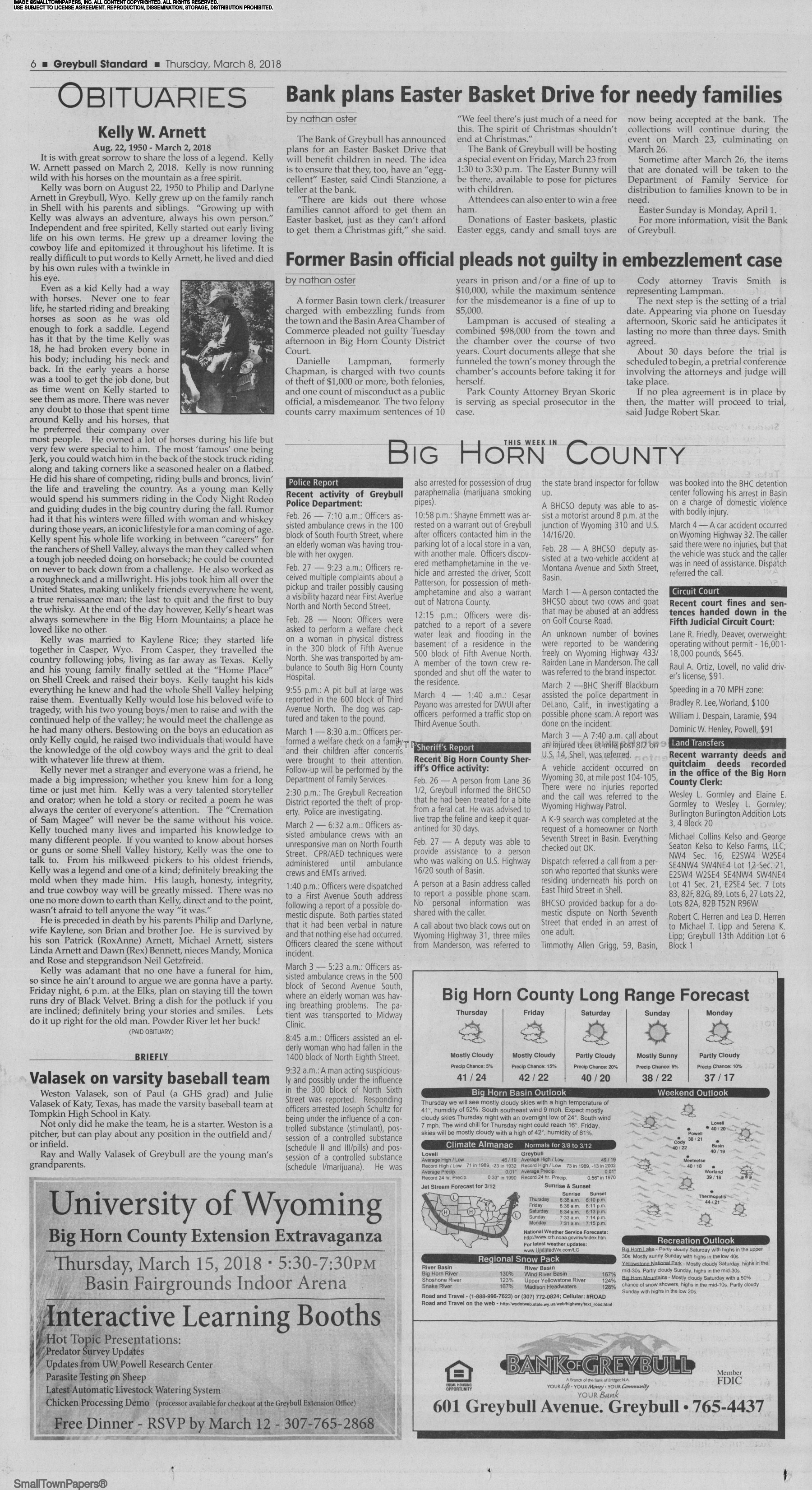 Greybull Standard March 8, 2018: Page 6
